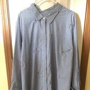 Ava & Viv button up blue and white top sz 4X